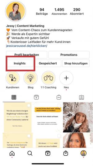 instagram insights sehen im profil