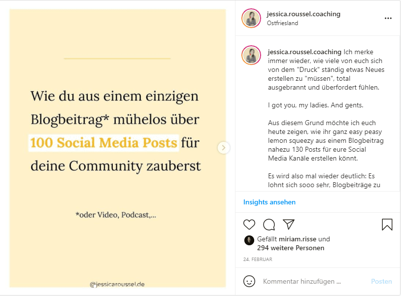 Mehr Instagram Saves Beispiel Anleitung