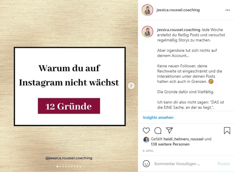 Mehr Instagram Saves Beispiel Aufzaehlung