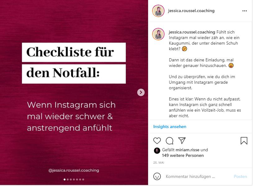 Mehr Instagram Saves Beispiel Checkliste