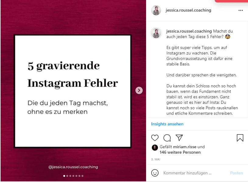 Mehr Instagram Saves Beispiel ehler