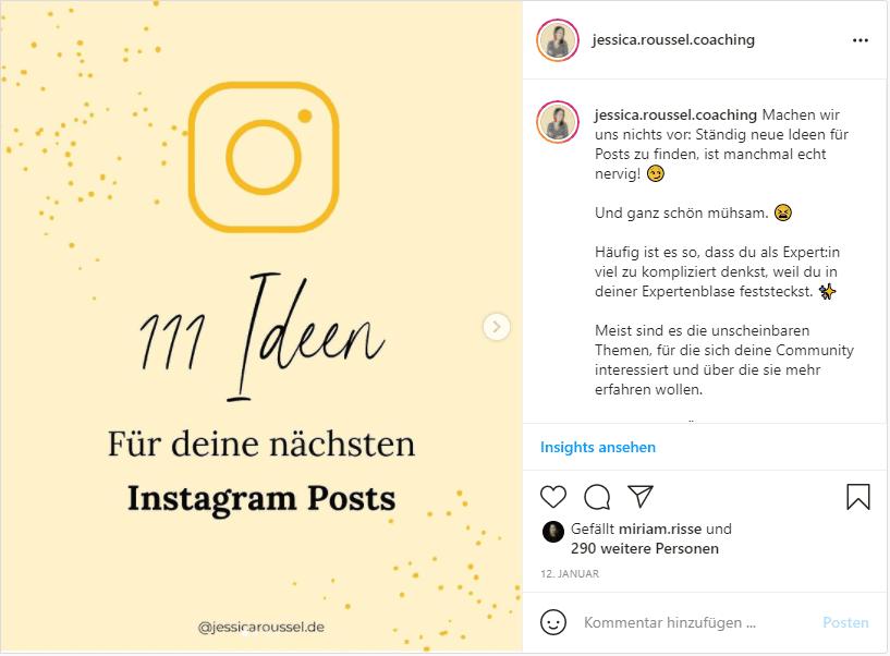Mehr Instagram Saves Beispiel nspiration