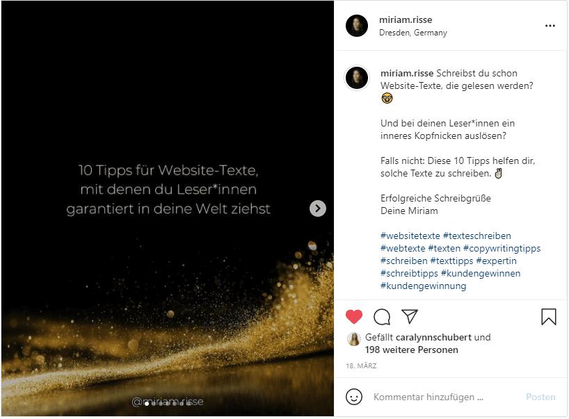 Instagram Saves Beispiel Tipps