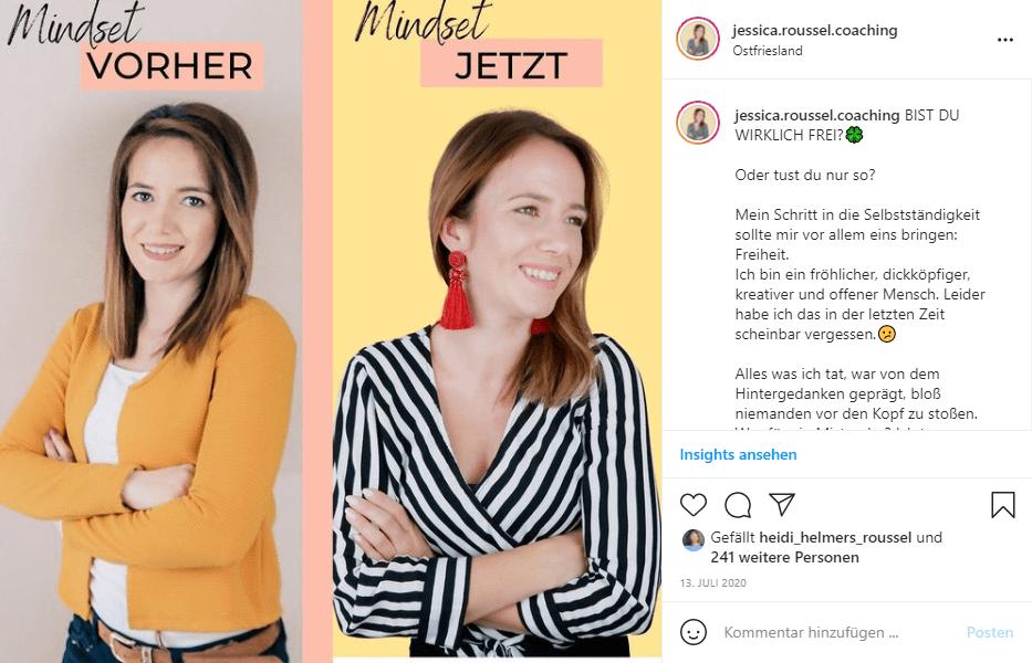 Mehr Instagram Saves Beispiel Transformation